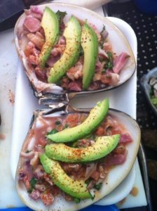 clams with salsa and avocados