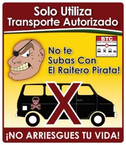 poster warning passengers about illegal transportation carriers
